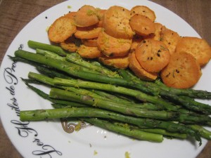 sweet potatoes and asparagus